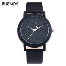 Vogue Starry Watch Women and Men Sequins Moon Clock Hands Leather Quartz Wrist Watch