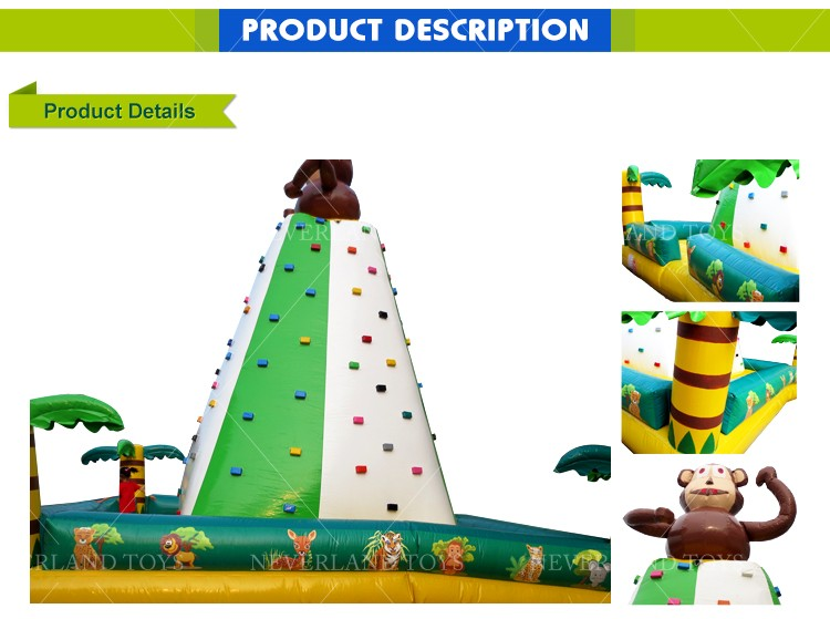 Best Quality NEVERLAND TOYS Green White Monkey Inflatable Rock Climbing Wall Funny Inflatable Kids Rock Climbing Walls