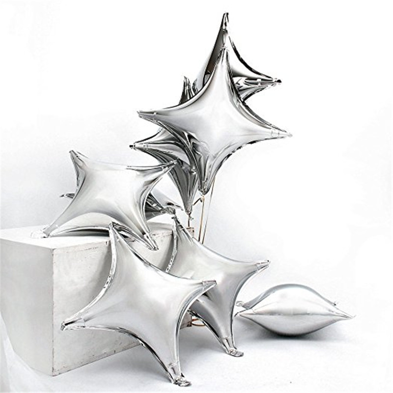 10,18, 24,36 inch silver Inflatable Four-Pointed corners Star shape Helium mylar foil Balloon for party Wedding Decorations