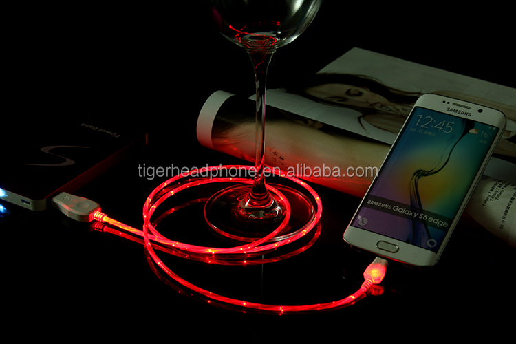 launch illuminated EL wire flowing light usb type c cable and micro for Galaxy note 7,Nokia N1,Nexus 6p