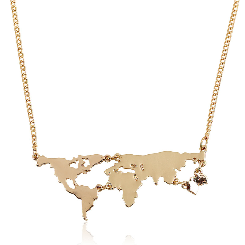 Zooying Dourado Mapa Mundi Choker Metal <strong>necklace</strong>