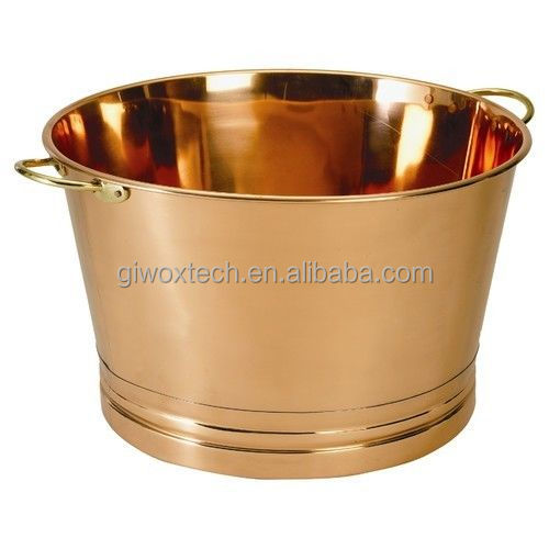 Party Beverage Tub Stainless Steel Ice Bucket Copper Finish Drink Cooler Bar New