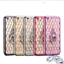 5 colors stand ring diamond pattern plating phone case for iphone 7 7 plus 6 6 plus