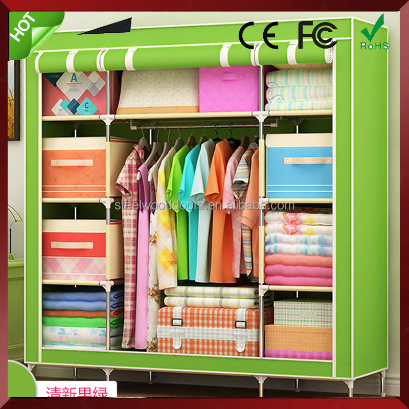 Chinese blue wardrobe/ folding canvas wardrobe/ folding cupboard wardrobe