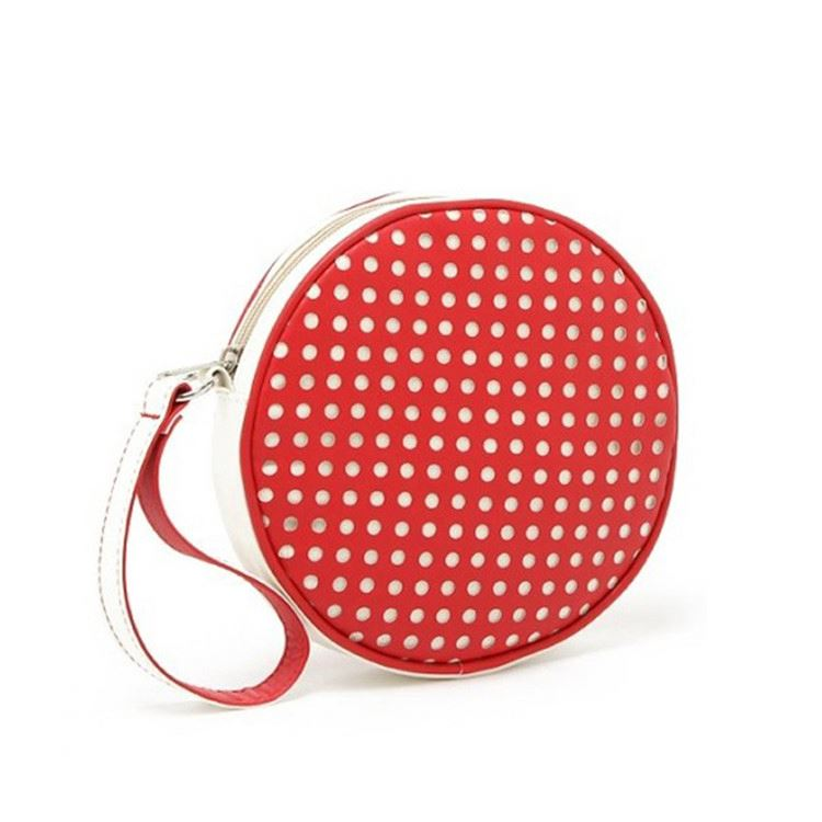 Factory supply OEM quality cute round cosmetic bag pu leather makeup bag