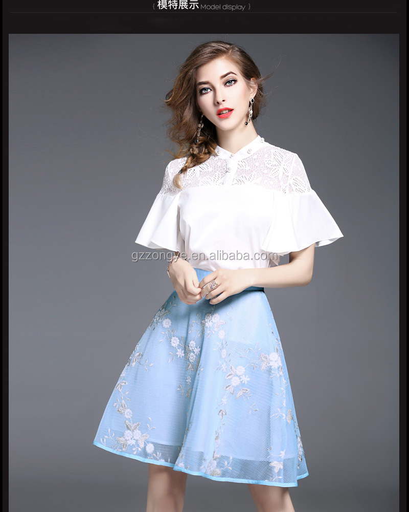 European style dress embroidered suit skirt short sleeves Lace spliced two pieces sets dresses women