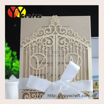 Ideal products weddings decoration laser card paper gatefold wedding cards elegant, initials for free