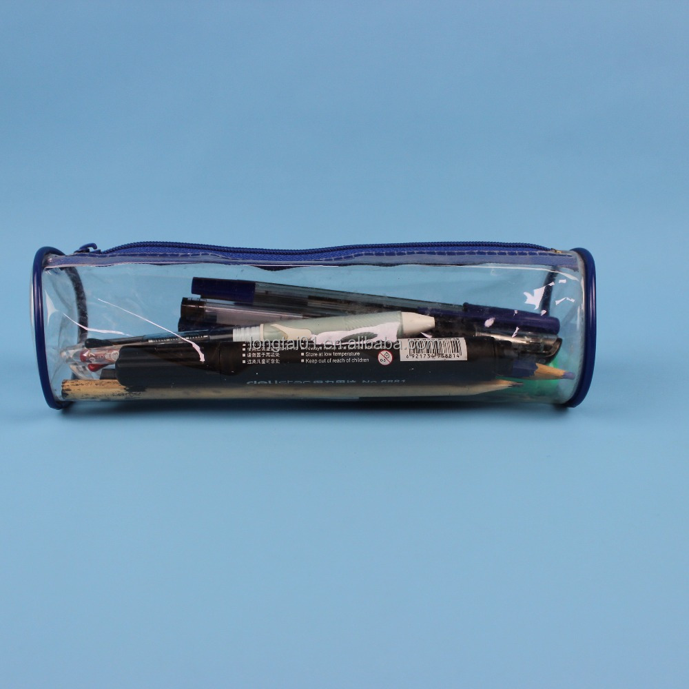 Transparent clear PVC plastic pen pencil case storage bag