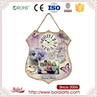 Multi Function home decoration and photo frame mdf wooden clock wholesale