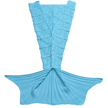 Hot selling blue hand knitted crocheted most popular mermaid tail blanket