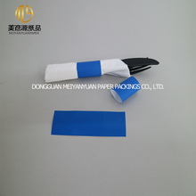 Blue decorative fold paper napkin bands with printing design for restaurant table