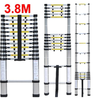 13steps 3.8m Aluminium material fortable household ladder telescopic ladder step stool with carry bag