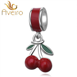 Wholesale DIY Jewelry Custom Enamel Charms Red Fresh Cherry Charms Fruit Pendant