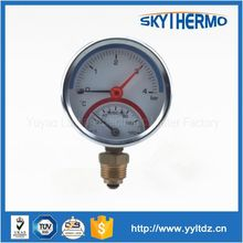 iron 80mm bottom connection high temperature pressure gauge