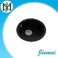 Round bowl quartz stone granite kitchen sink with black color, acrylic sand 80% and the resin 20%