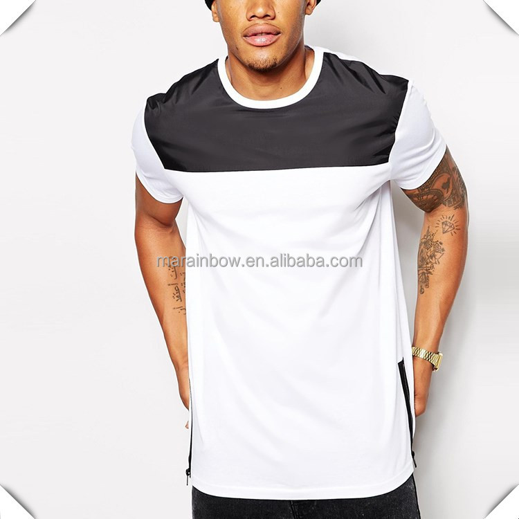 100 Cotton Extra Long T Shirt With Side Zippers White