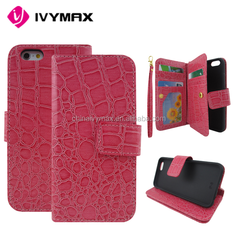 PU card slide holder phone case for iphone 6s 4.7 leather case