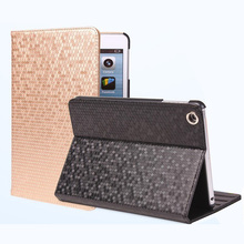 2018 Hot selling diamond gridding stand cover leather flip smart tablet case for iPad mini 2 3 4 Air 2 Pro