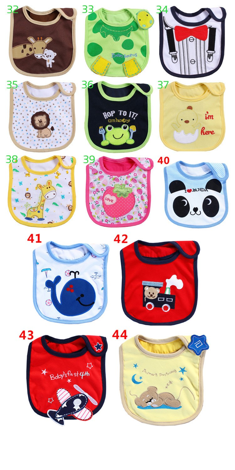 Embroidery baby Bibs cute wholeslae cotton animal baby girls boys baby bibs