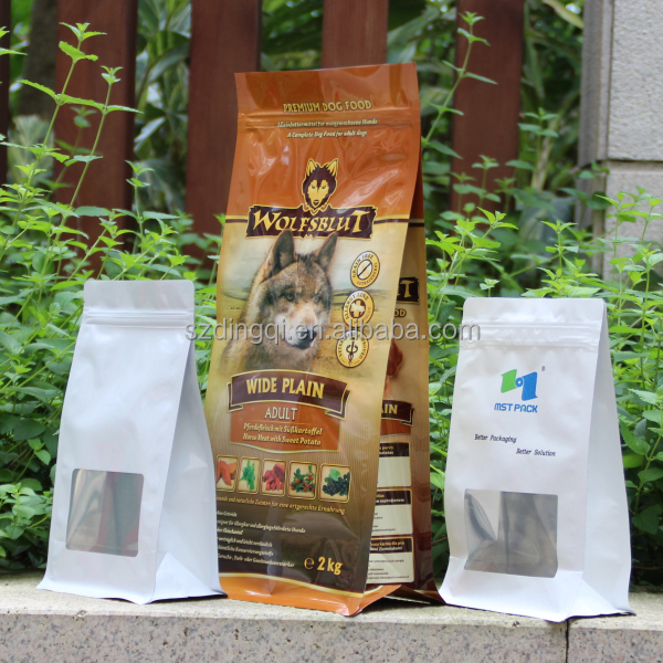 Shenzhen factory plastic side gusset custom box pouch packaging with zipper for dog food