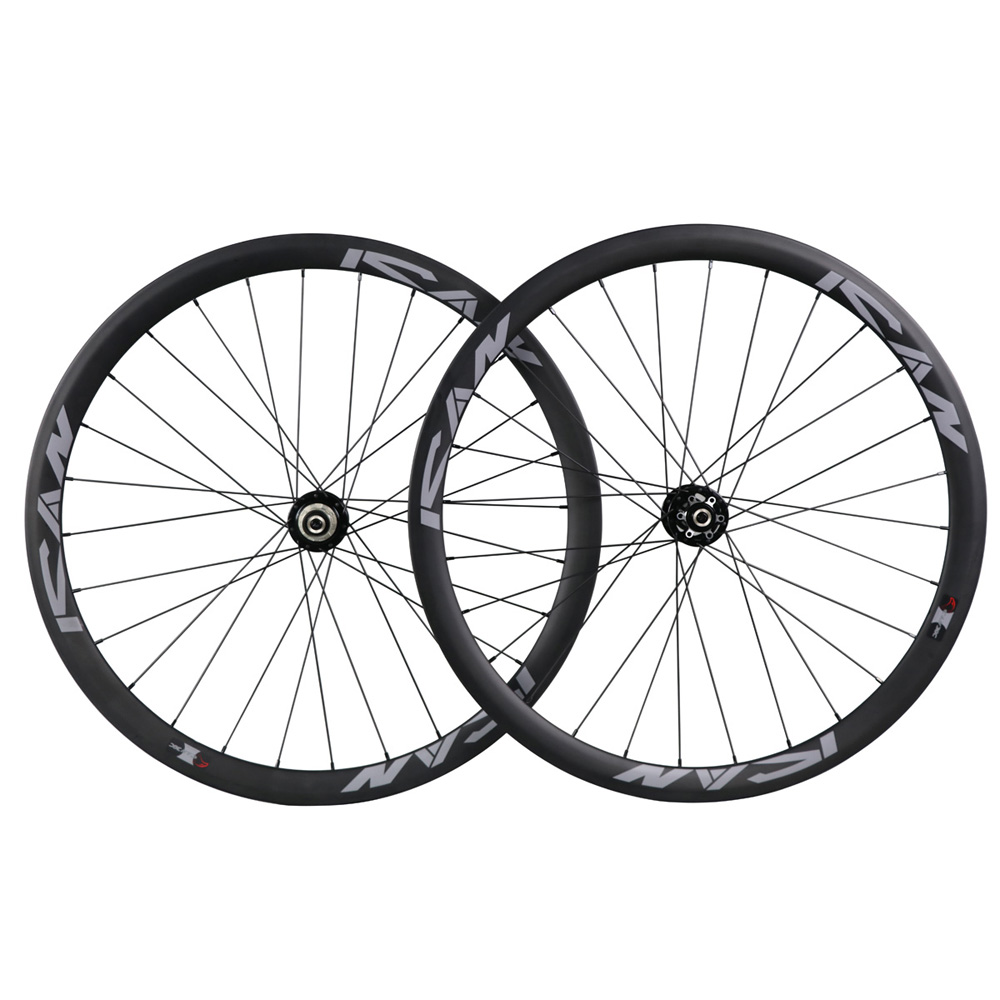 ICAN road/cyclocross/mtb bicycle 38mm clincher carbon disc wheel 700c