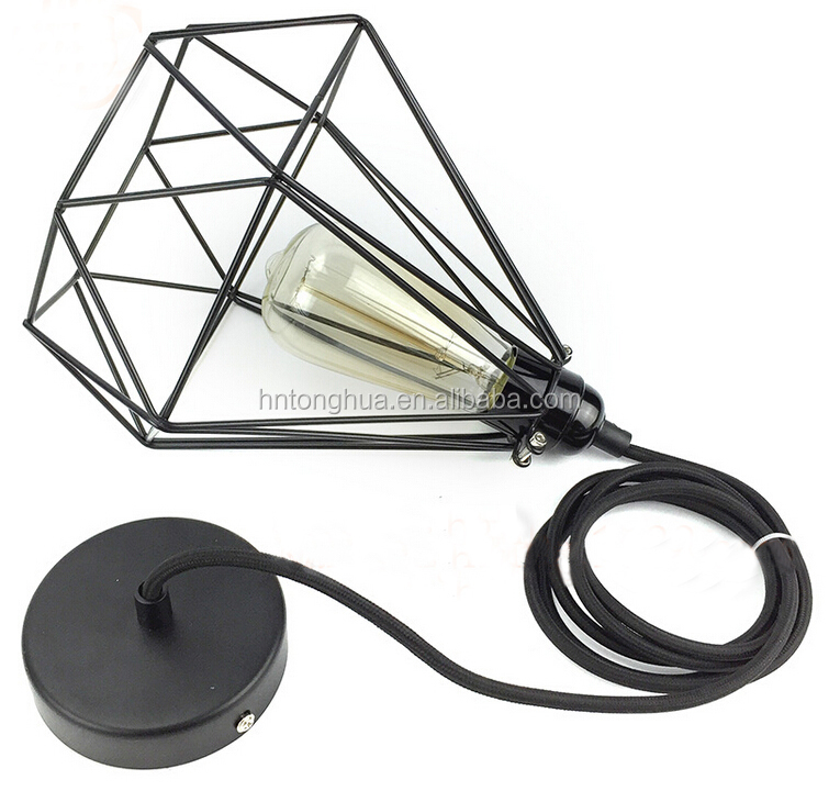 Industrial Black Iron Wire Edison bulb diamond shape cage shade pendant