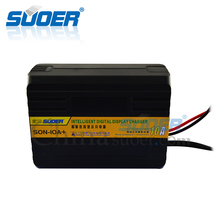 Suoer portable electric PWM 6V/12V 10A universal smart portable auto lead acid battery charger with LED screen display