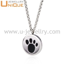 Pet paw design steel color aromatherapy essential oil diffuser pendant necklace