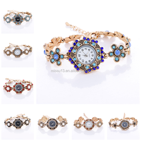 simple watch 2017 popular vogue retro fashion butterfly flower rhinestone lady bracelet chain women wrist watch