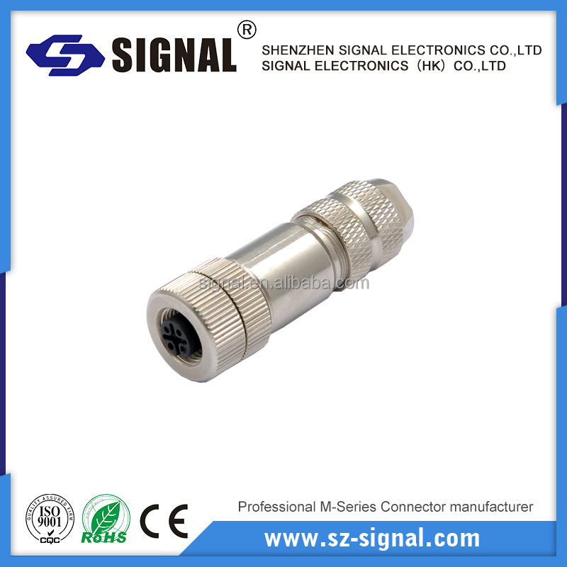 M12 male and female electrical connector metal housing 4pin 5pin 6pin 8pin