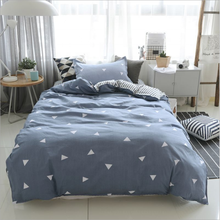 AB version printed nordic four-piece <strong>set</strong> Student dormitory four-piece <strong>set</strong> of skin-friendly aloe cotton bed linen