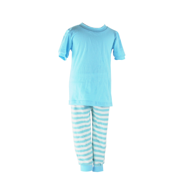 Wholesale children cotton sleepwear icing summer outfit boutique stripe light blue pajamas