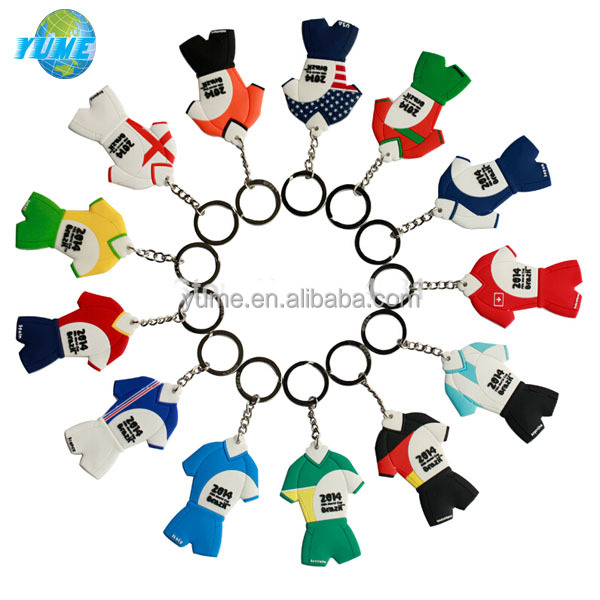 2014 World Cup 3D PVC Football Fan Pendant Jersey Keychain - Factory Directly
