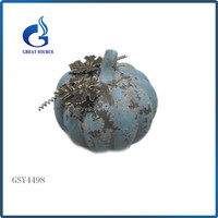 Promotional blue ceramic pumpkin with metal leaves for Halloween Decoration