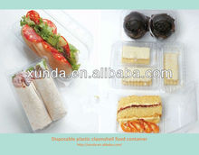 Disposable plastic clamshell food container