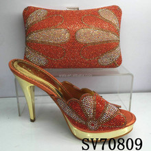 SV70809 women Italy high heel shoes and bag set for evening party with stones