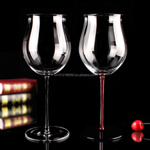 Rose shaped red wine glass/crystal barware set of 4