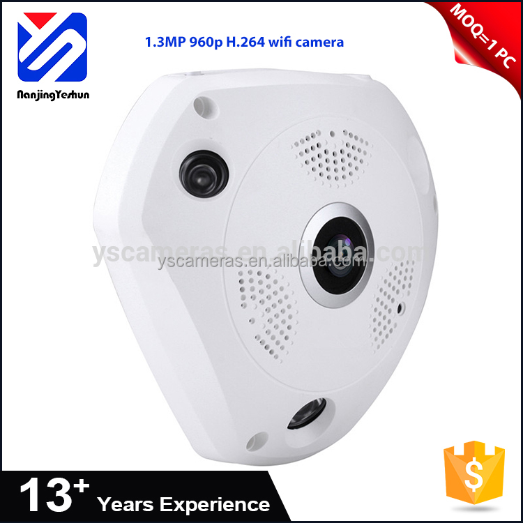 low moq China 1280*960(960P) cctv camera 10M IR distance H.264 CMOS 1.3MP 360 wifi camera ip Wi-Fi(IEEE802.11b) 3.6mm