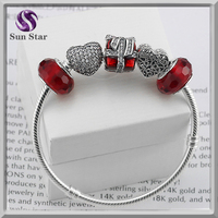 Fashion bracelet 2016 sterling 925 silver pave beads and red glass beads DIY style bracelet