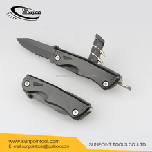 New style Aluminum Handle and Hunting Knife Application folding Pocket Knife With LED and Car Glass Breaker