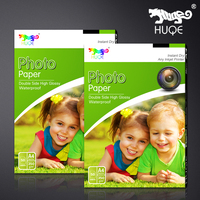 Hot selling HUQE 50 sheets double side high glossy waterproof 350gsm A4 inkjet photo paper
