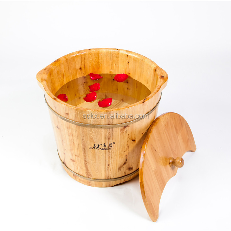 2015 hot cedar wooden foot wash basin , foot bath basin