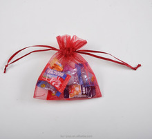 wholesale burgundy Christmas festival and wedding party Organza gift candy drawstring bags