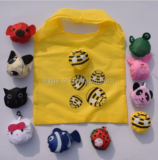Pretty Cute Animal Design 190T Polyester Bag Custom Made Foldable Shopping Bag
