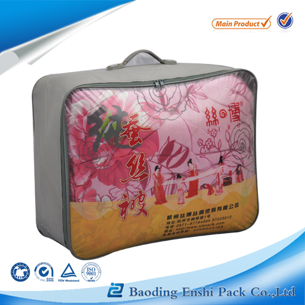 China manufacturer direct sale clear vinyl pvc zipper blanket bags, clothes storage bags