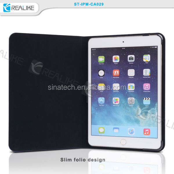 for apple ipad mini 4 accessories folio leather cover,ultra thin book case for ipad mini 1/2/3/4