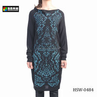 Black Lady Long Dress, Ladies Traditional Delicate Print Dress