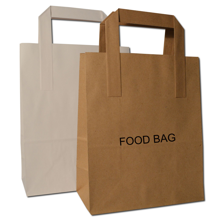 Blank White Brown Sos Takeaway Food Bakery Lunch Party Kraft Paper Carrier Bags ,custom printed paper bread bags