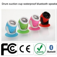 Vogoge drum Silicone suction cup bluetooth speaker with built-in rechargeable battery and highly sensitive microphone