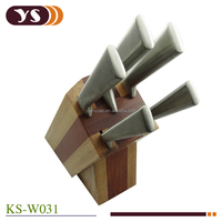high quality stainless steel knife and oak block set